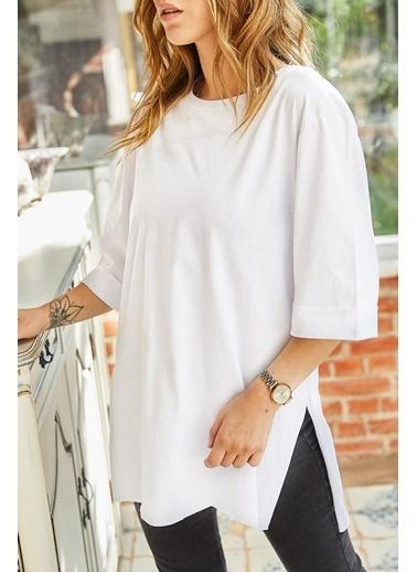XHAN Boyfriend Basic T-Shirt 9Kxk1-42874-01 Beyaz
